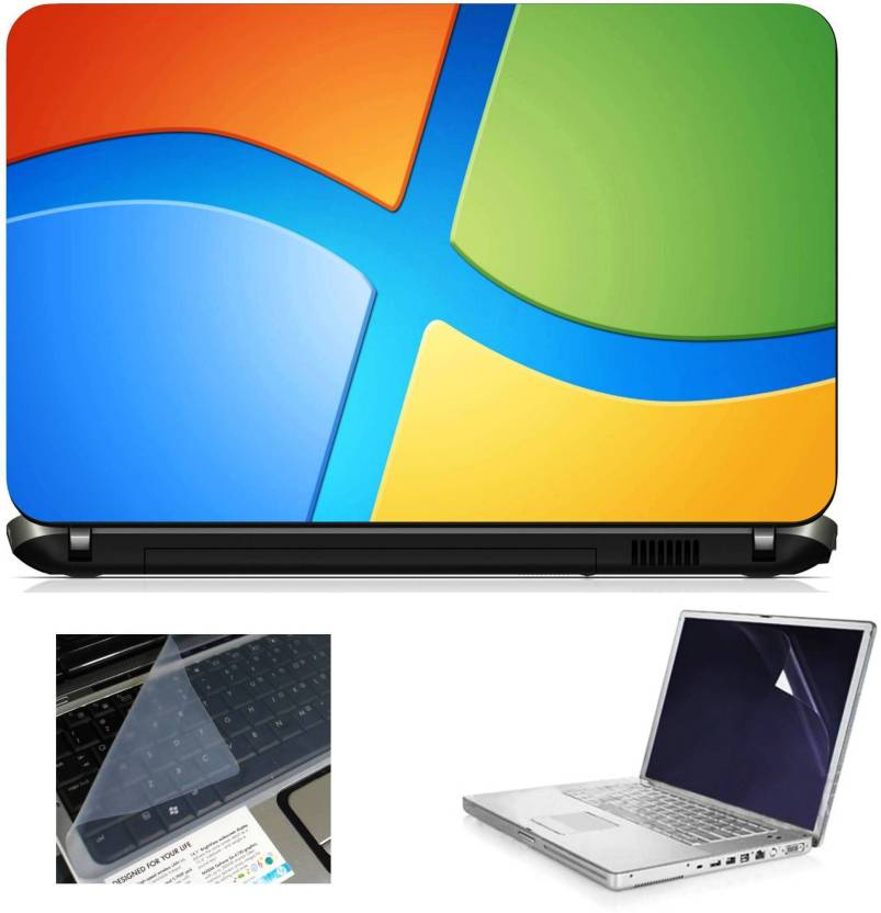 Geek Windows Cropped Logo 3in1 Laptop Skins with Laptop Screen Guard and Key Protector HQ1082 15.6 Inch Combo Set
