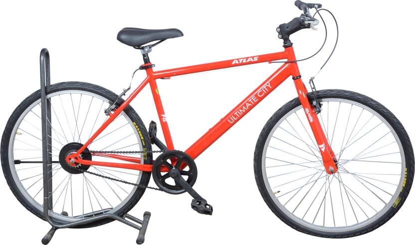 Atlas Ultimate City 26 Inches Single Speed 26 T Hybrid Cycle/City Bike Single Speed, Red, White