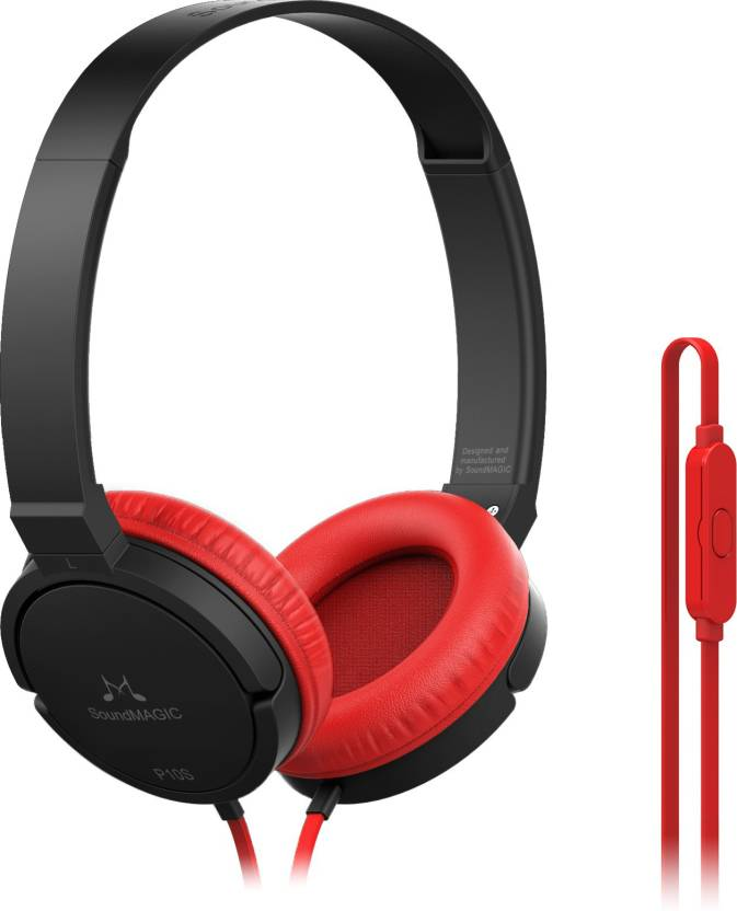 SoundMagic P10S Wired Headset with Mic Red Black, Over the Ear