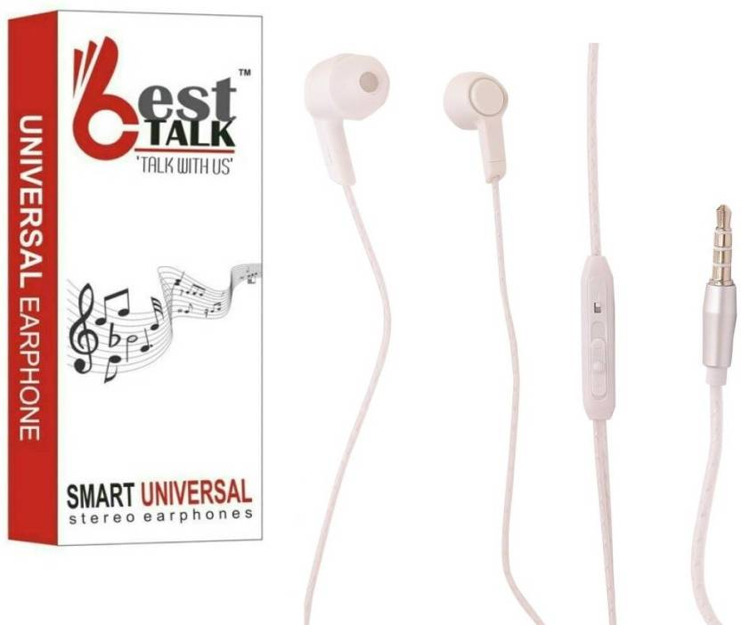 BESTTALK B 1 SUPER DYNAMIC Wired Headset with Mic White, In the Ear