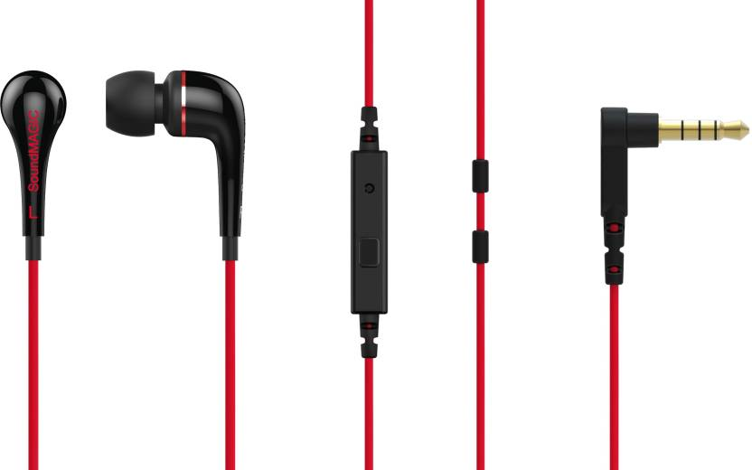 SoundMagic ES11S Wired Headset with Mic Red, In the Ear