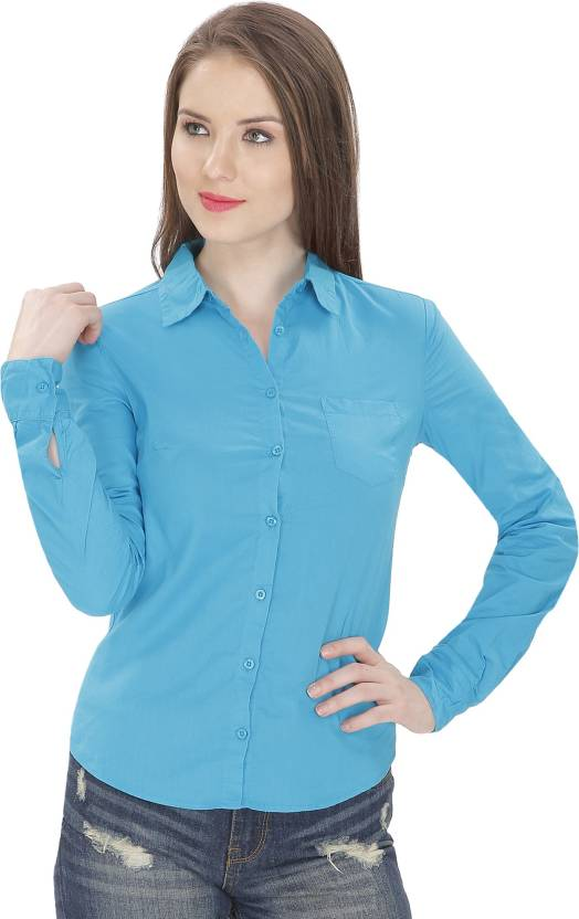 MansiCollections Women Solid Formal Blue Shirt