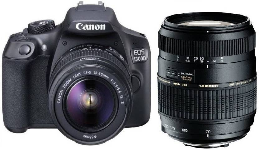 Canon 1300D DSLR Camera Body with Dual Lens: Canon EF S 18 55 IS II + Tamron AF 70 300 mm F/4 5.6 Di LD Macro Lens  16  GB SD Card + Camera Bag  Black