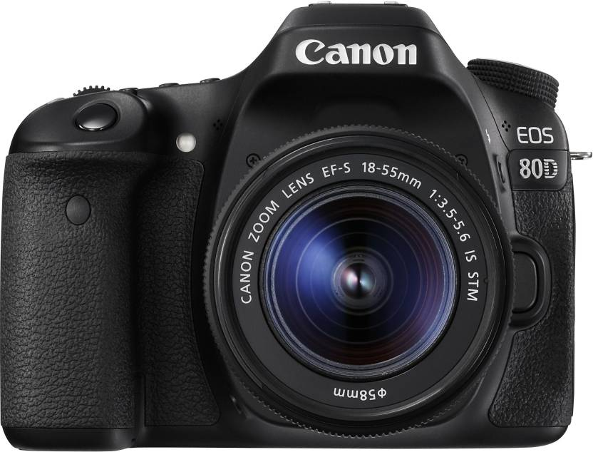 Canon EOS 80D DSLR Camera Body with Single Lens: EF S 18 55 IS STM  16  GB SD Card  Black