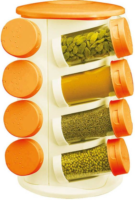 Shree Shop   100 ml PP  Polypropylene  Spice Container Pack of 16, Orange