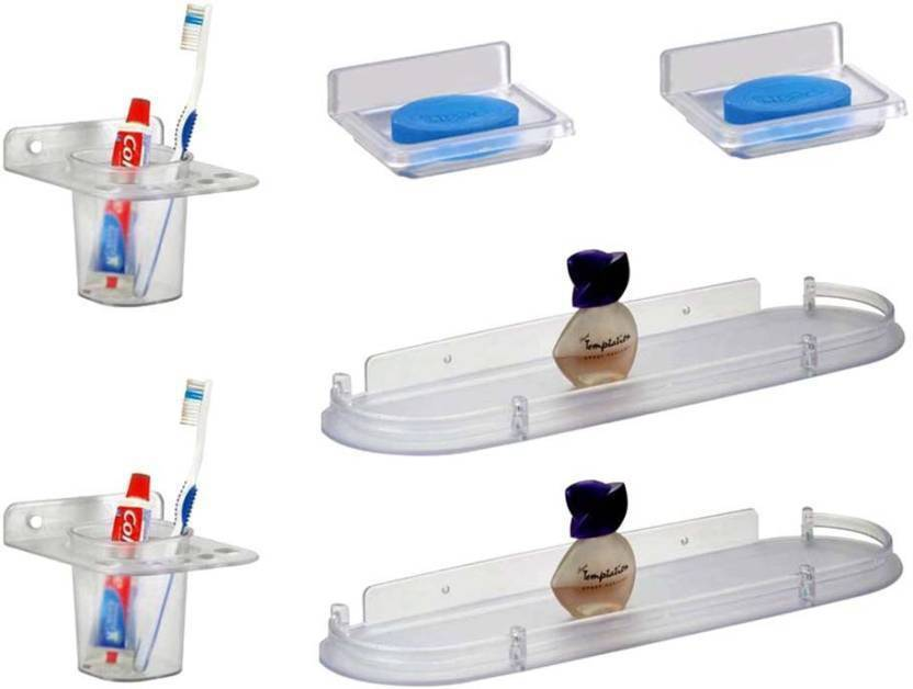 Jolly's trendy Acrylic Wall Shelf Number of Shelves   6, Clear