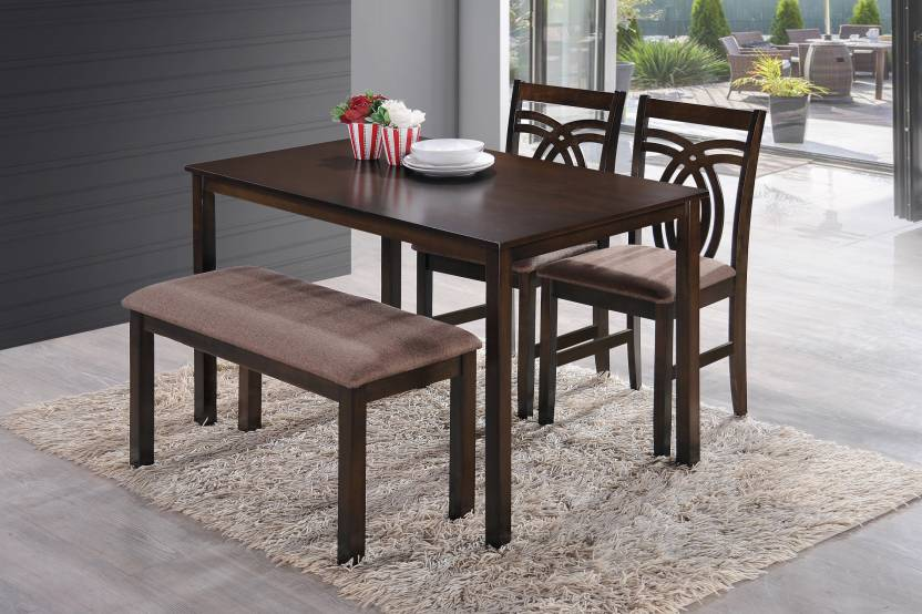 HomeTown Stella Solid Wood 4 Seater Dining Set Finish Color   Dark Walnut