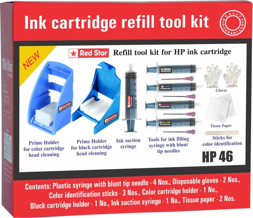 Red Star ink refill tool kit for hp 46 cartridge Multi Color Ink Cartridge Red