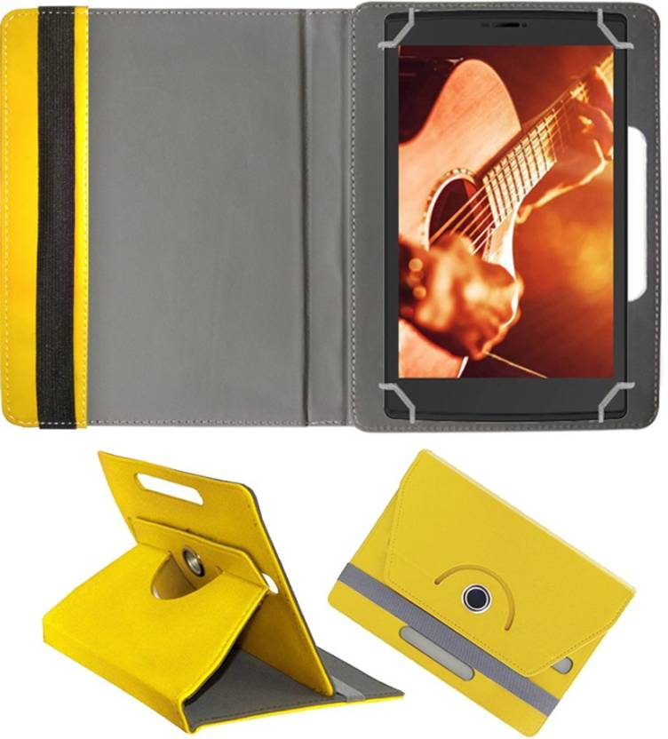 Fastway Book Cover for Micromax Canvas Tab P681 Yellow, Cases with Holder