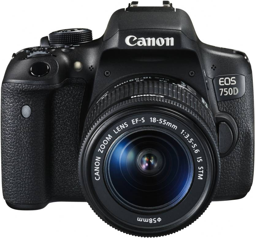 Canon EOS 750D DSLR Camera Body with Single Lens: 18 55mm  16  GB SD Card + Camera Bag  Black