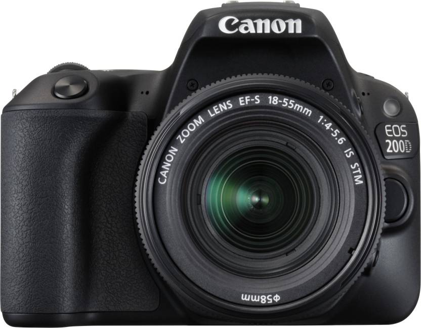 Canon EOS 200D DSLR Camera Body with Single Lens: EF S18 55 IS STM  16  GB SD Card + Camera Bag  Black