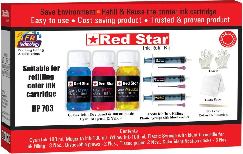 Red Star refill ink for hp 703 color cartridge Multi Color Ink Cartridge Red