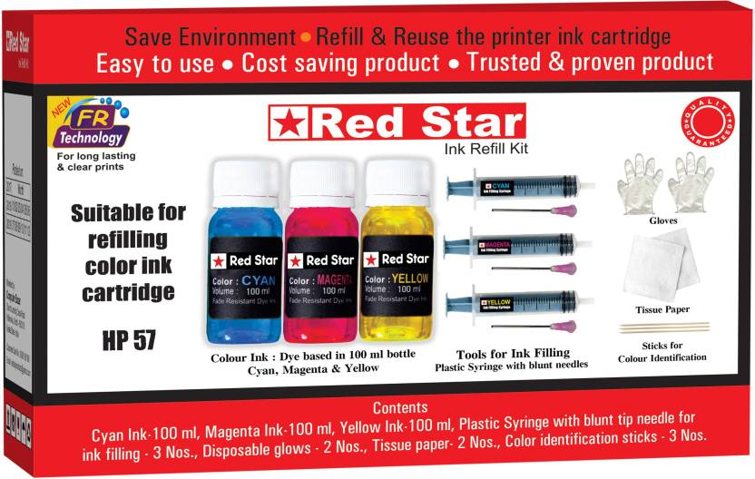 Red Star refill ink for hp 57 color cartridge Multi Color Ink Cartridge Red