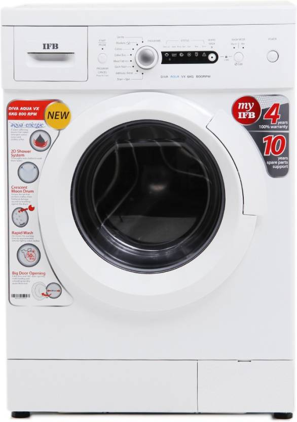 IFB 6 kg Fully Automatic Front Load Washing Machine with In built Heater White Diva Aqua VX