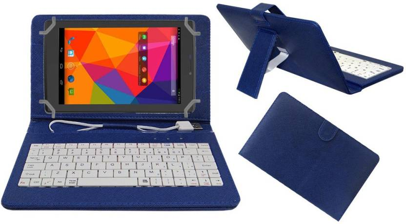 ACM Keyboard Case for Micromax Canvas Tab P480 Blue