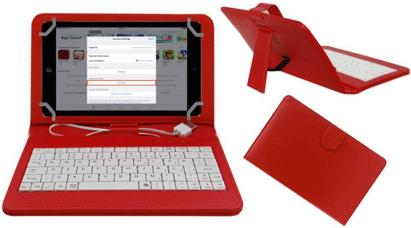 ACM Keyboard Case for Universal for 7 Inch Tablet Red