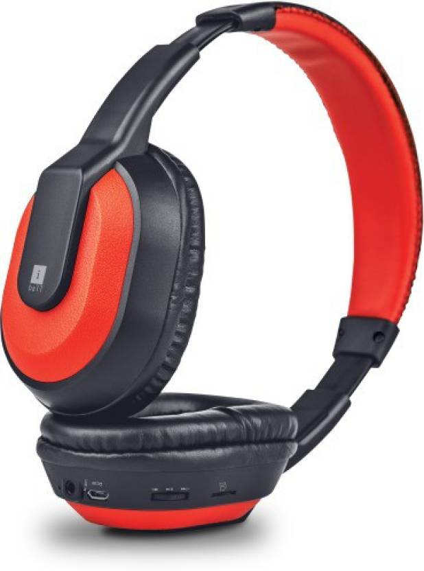 Iball Musi Tap Clarity Headsets with BT / FM / MicroSD Playback Headset with Mic Red, Black, Over the Ear