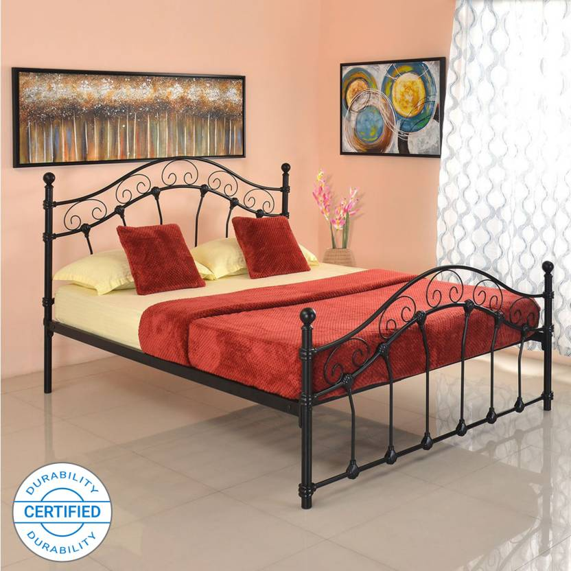 @home by Nilkamal Emma Metal Queen Bed Finish Color    Black