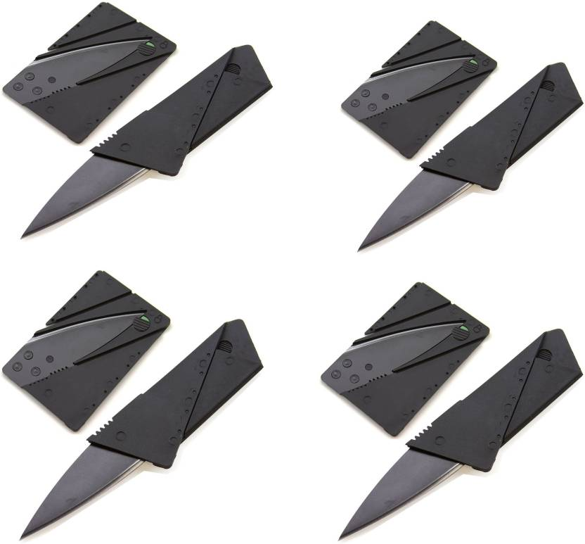 Zooper Pack Of Four Credit Card Folding Safety 2 Function Multi Utility Swiss Knife Black