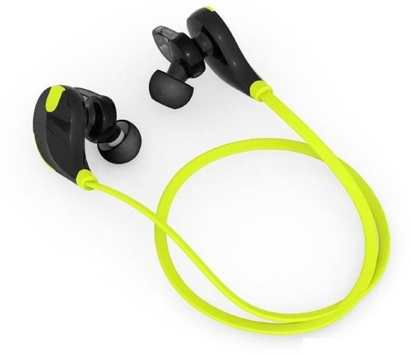 Wrapo Jogger Headset Wireless Sports Headphones with Mic Bluetooth Headset with Mic Green, In the Ear