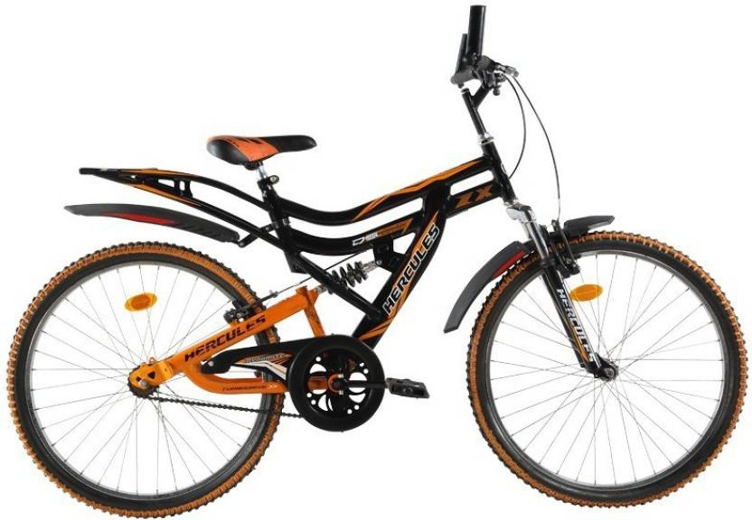 HERCULES Dynamite ZX Dual Suspension 26 T Mountain Cycle Single Speed, Black
