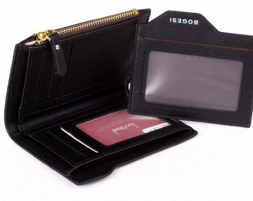 Bogesi Men Casual Black Artificial Leather Wallet 6 Card Slots