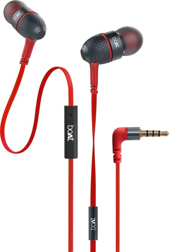 boAt BassHeads 220 Super Extra Bass Wired Headset with Mic Raging Red, In the Ear