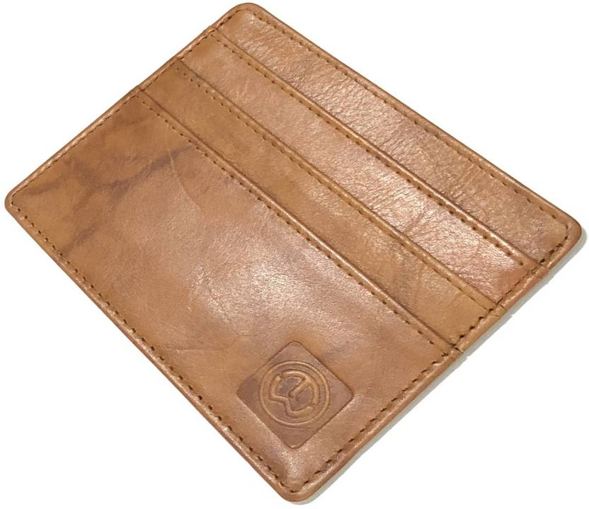 TnW Men Tan Genuine Leather Card Holder 6 Card Slots