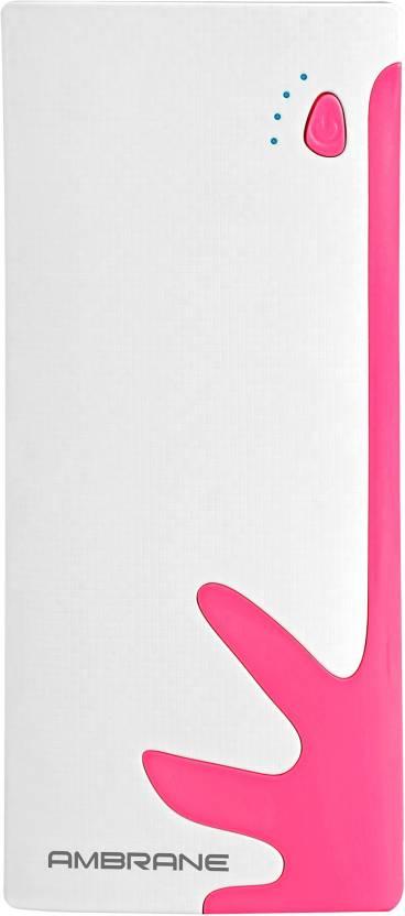 Ambrane 10000 mAh Power Bank  P 1122, NA  White, Pink, Lithium ion