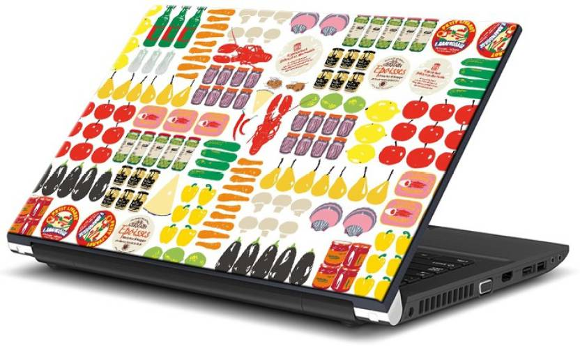 ezyPRNT Food Doodle Art  15 to 15.6 inch  Vinyl Laptop Decal 15