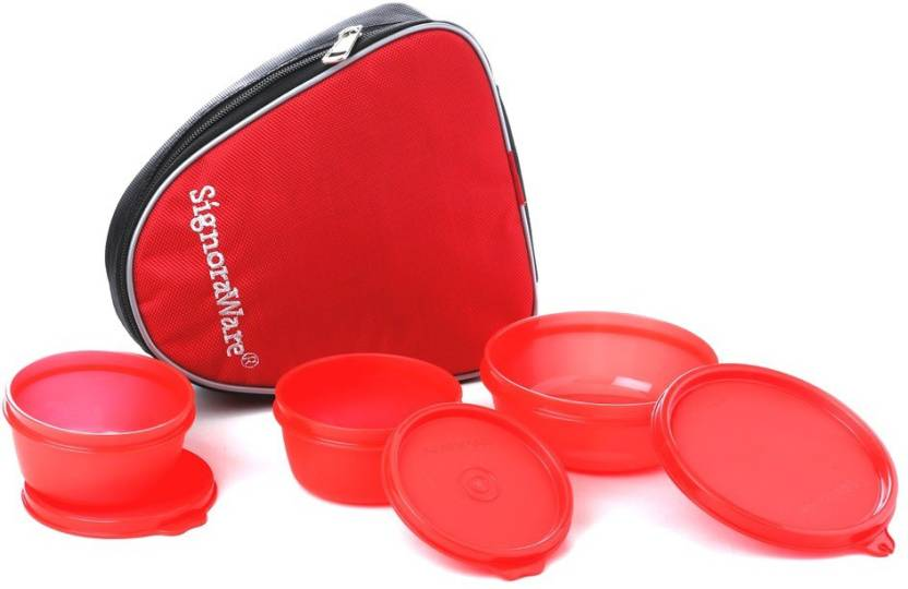 Signoraware 531 sleek With Bag 3 Containers Lunch Box 700 ml