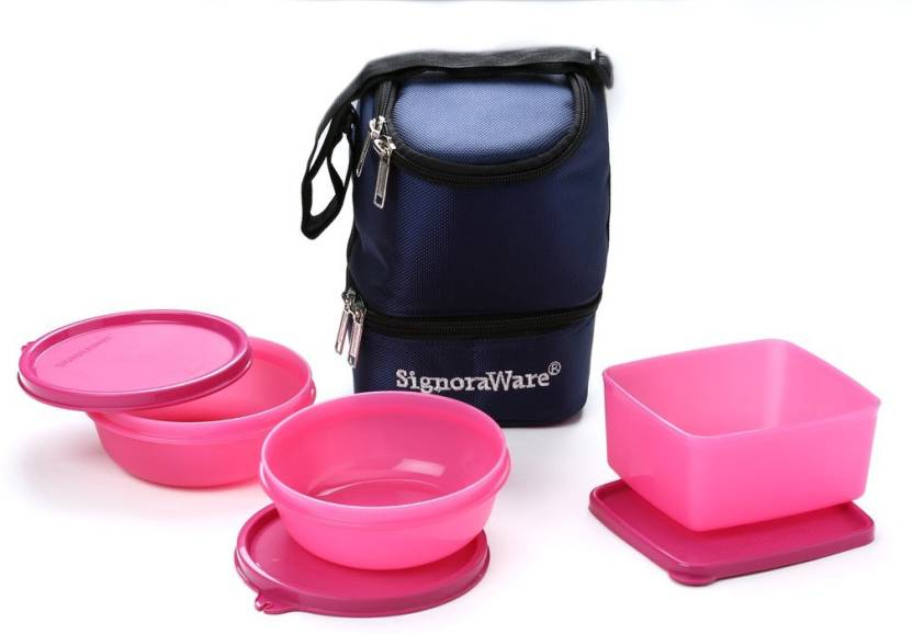 Signoraware 533 Elegant  With Bag  3 Containers Lunch Box 1100 ml