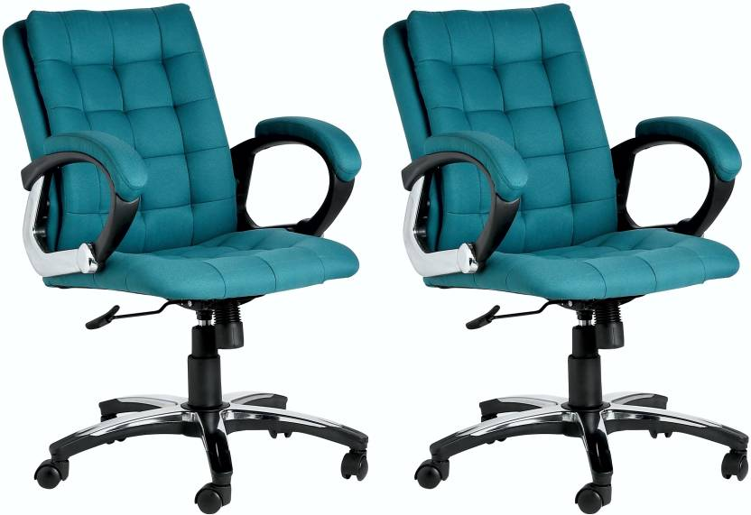 VJ Interior Leatherette Office Arm Chair Green, Set of 2