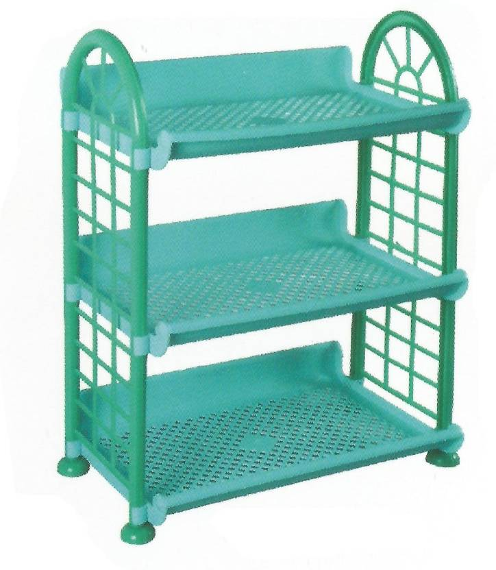 De Ultimate 3 Compartments Foldable Beautiful Multipurpose Rack Plastic Wall Shelf Number of Shelves   3