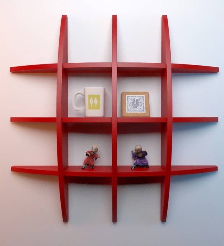 Artesia Wooden Wall Shelf Number of Shelves   1, Red