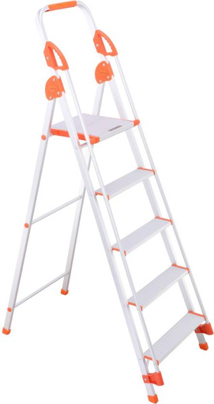 Bathla Zenith 5 Step Foldable  With hand rails and safety grips  Aluminium Ladder With Platform, Hand Rail
