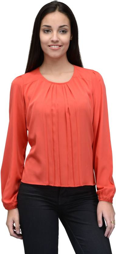 Tunic Nation Casual Full Sleeve Solid Women Orange Top