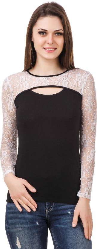 Le Bourgeois Casual Full Sleeve Solid Women Black Top