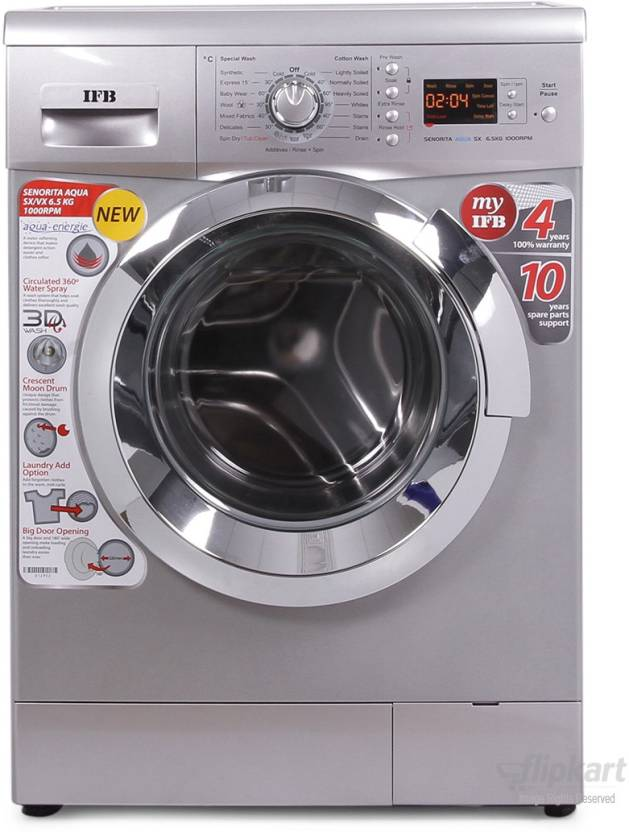 IFB 6.5 kg Fully Automatic Front Load Washing Machine with In built Heater Silver Senorita Aqua SX   6.5 KG